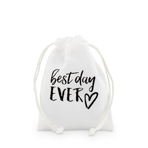 """best day ever"" Print Muslin Drawstring Favor Bag - Small (12) (Pack of 12)"