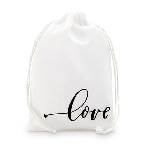"""love"" Print Muslin Drawstring Favor Bag - Medium (12) (Pack of 12)"