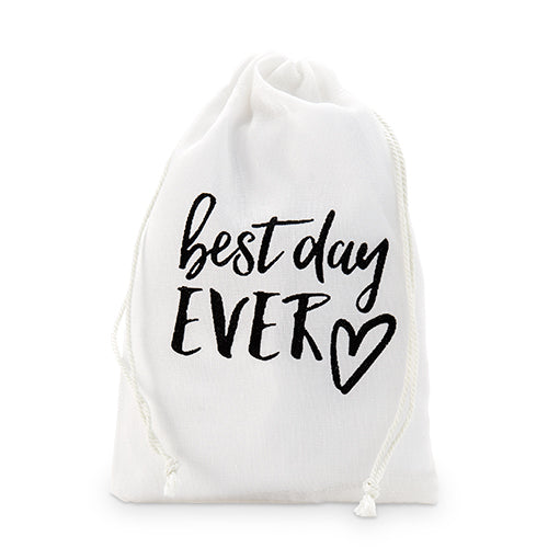 """best day ever"" Print Muslin Drawstring Favor Bag - Medium (12) (Pack of 12)"