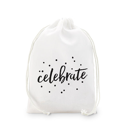 """celebrate"" Print Muslin Drawstring Favor Bag - Medium (Pack of 12)"
