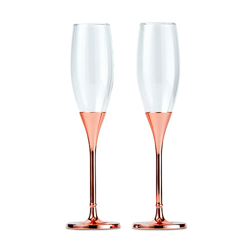Rose Gold Champagne Glasses with Rhinestone Crystals (Pack of 1)