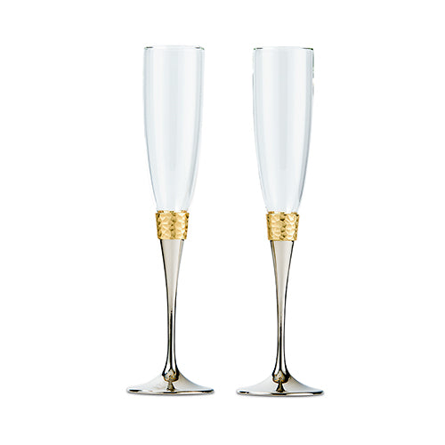Hammered Gold and Polished Silver Wedding Champagne Glasses (Pack of 1)