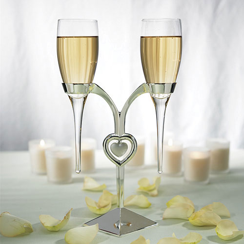 Glass Flutes With Silver Stand Wedding Champagne Glasses (Pack of 1)