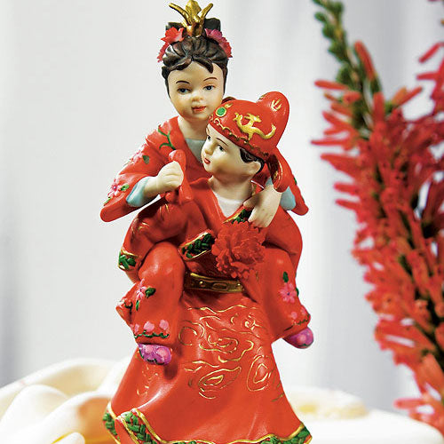 Cute Asian Couple in Traditional Wedding Attire Cake Topper (Pack of 1)