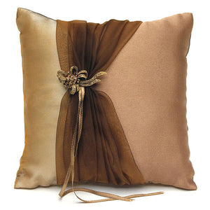 Bronze Elegance Square Ring Pillow (Pack of 1)