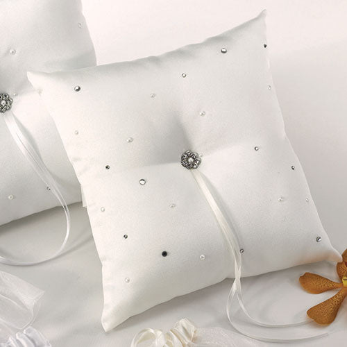 Scattered Pearls & Crystals Square Ring Pillow Ivory (Pack of 1)