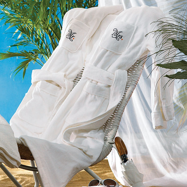 "Personalized Embroidered Women's Bridal Spa & Bath Robe - White Mrs.  ""Mrs."" Bathrobe (Pack of 1)"