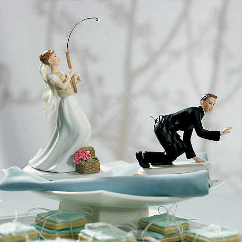 "Catch of the Day Bride and Groom Cake Topper ""Fishing"" Bride Caucasian (Pack of 1)"