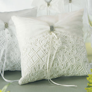 Bridal Tapestry Square Ring Pillow Ivory (Pack of 1)