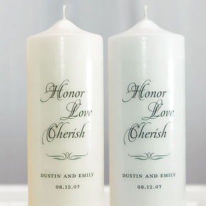 Honor Love Cherish Personalized Unity Candle White (Pack of 1)