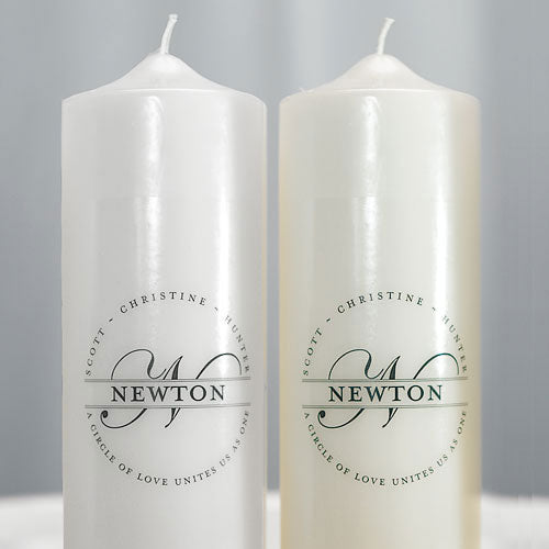 Family Circle Monogram Personalized Unity Candle White (Pack of 1)
