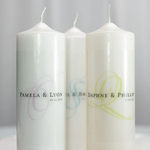 Modern Monogram Personalized Unity Candle White (Pack of 1)