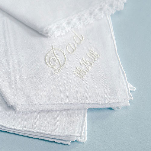 Personalized Embroidered White Pocket Handkerchief - Plain (Pack of 1)