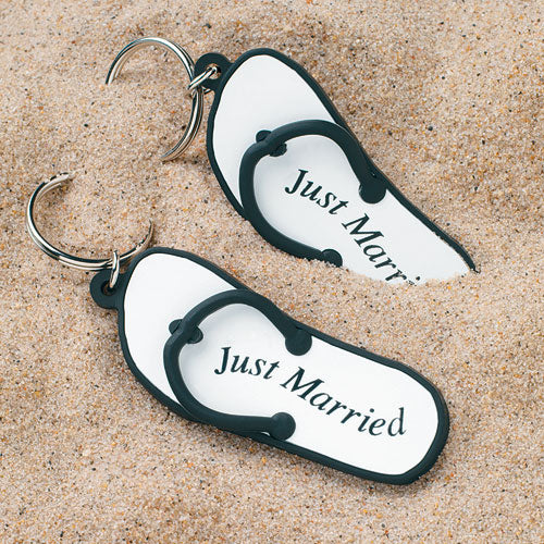 "Mini Flip Flop ""Just Married"" Key Chains (Pack of 6)"