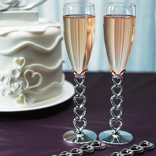 Silver Stacked Hearts Wedding Champagne Flutes (Pack of 1)