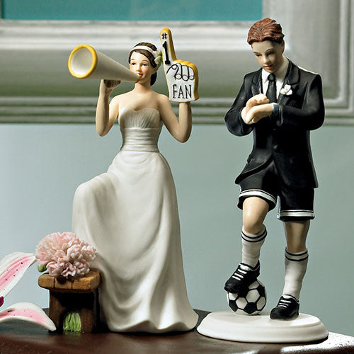 His Biggest Fan Bride and Groom Cake Topper Soccer Player Groom (Pack of 1)