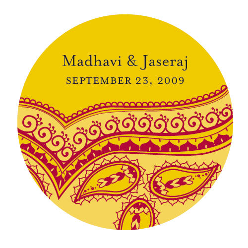 Indian Theme Stickers Yellow Pattern (Pack of 1)