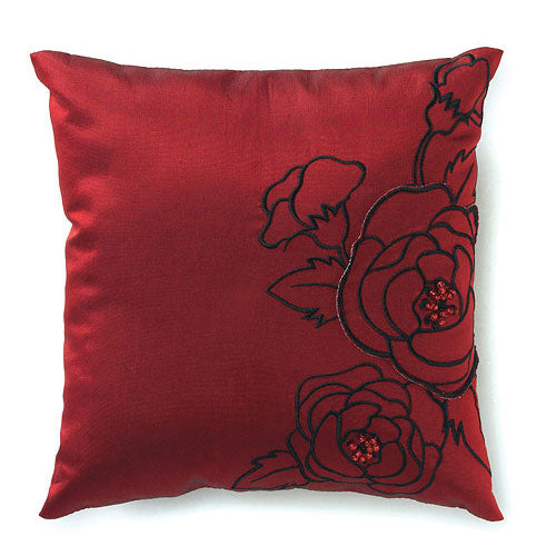 Silhouettes In Bloom Square Ring Pillow Jet Black With White (Pack of 1)