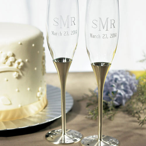 Silver Wedding Champagne Glasses with Crystal Gems (Pack of 1)