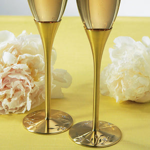 Gold Wedding Champagne Glasses with Crystal Gems (Pack of 1)