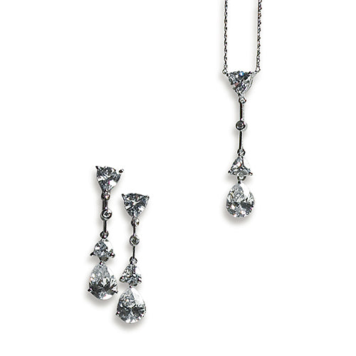 Vintage Silver Necklace and Earring Set – Pear Drop Crystal Pendant Earrings (Pack of 1)