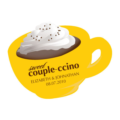 "Sweet ""Couple-ccino"" Shaped Sticker Indigo Blue (Pack of 1)"