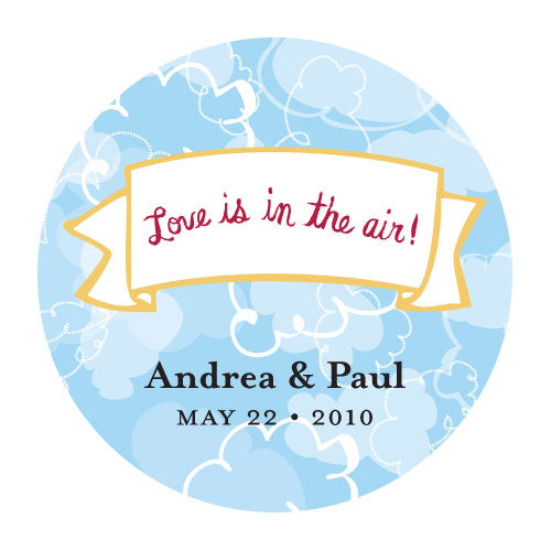 Love is in the Air Round Cloud Sticker (Pack of 1)