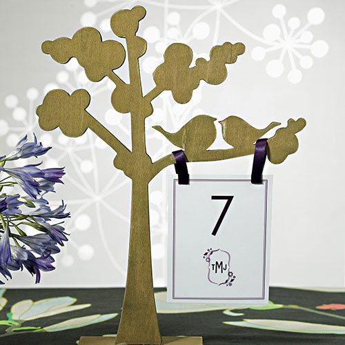 "Wooden Die-cut Trees with ""Love Birds"" Silhouette (Pack of 1)"