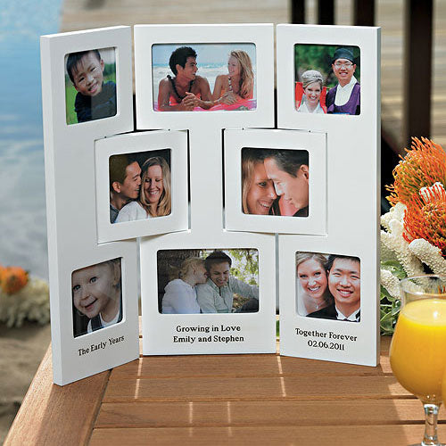 """Our Story"" Multiple Opening Photo Frame - Table Top - 3 Panel Walnut Brown Finish (Pack of 1)"