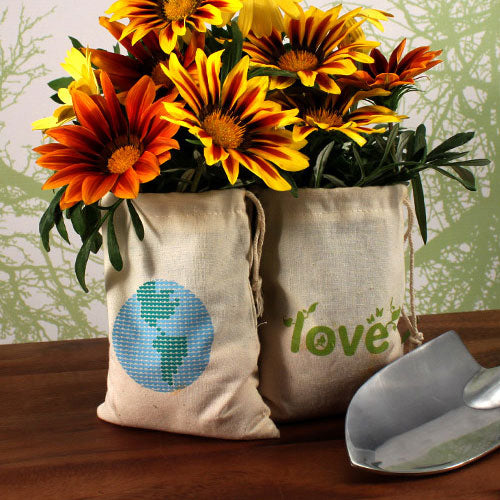 Eco Organic Cotton Drawstring Favor Bag Loving Earth Print (Pack of 12)