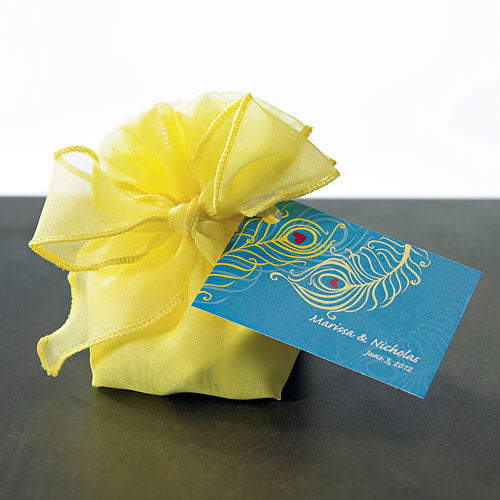 Organza Drawstring Favor Bags with Bow - Lemon Yellow (Pack of 12)