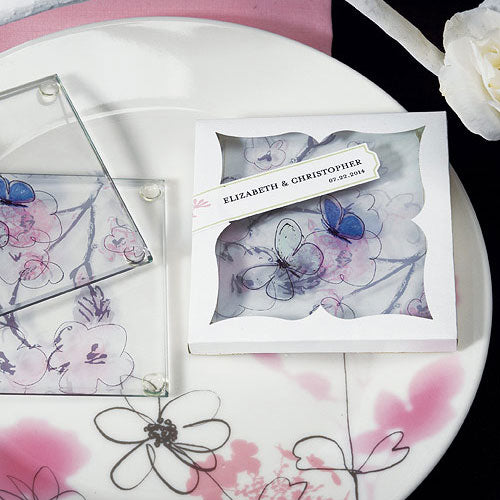 Hand Drawn Floral Glass Coaster Set (Pack of 1)