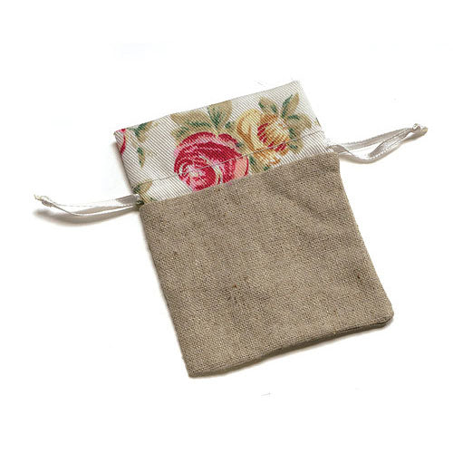 Linen Drawstring Bag With  Floral Print Trim (12) (Pack of 12)