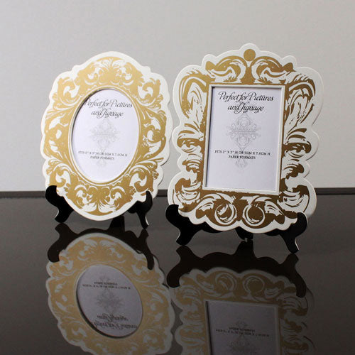 4 Baroque Paper Frames with Table Easels - Small Black And White (Pack of 4)