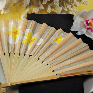 Tropical Fan with Romantic Plumeria Floral Details (6) (Pack of 6)
