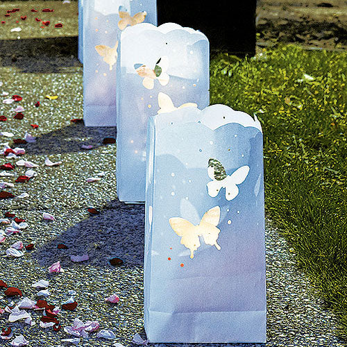 """Light The Way"" White Paper Bags with Die-Cut Butterfly Pattern (Pack of 12)"