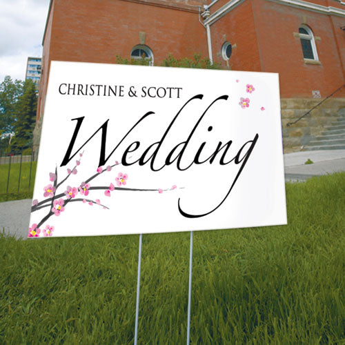 Cherry Blossom Wedding Sign Fuchsia (Pack of 1)