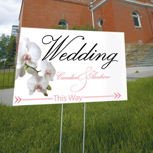 Classic Orchid Wedding Directional Sign Plum (Pack of 1)