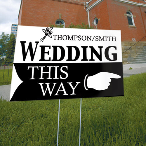 Wedding This Way Wedding Directional Sign Berry (Pack of 1)