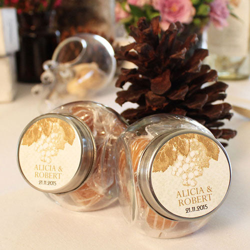 Small Glass Candy Jar with Lid Wedding Favor (12) (Pack of 12)