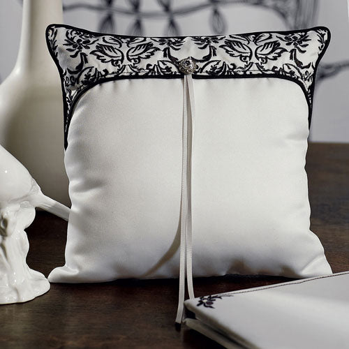 Love Bird Damask in Classic Black and White Ring Pillow (Pack of 1)