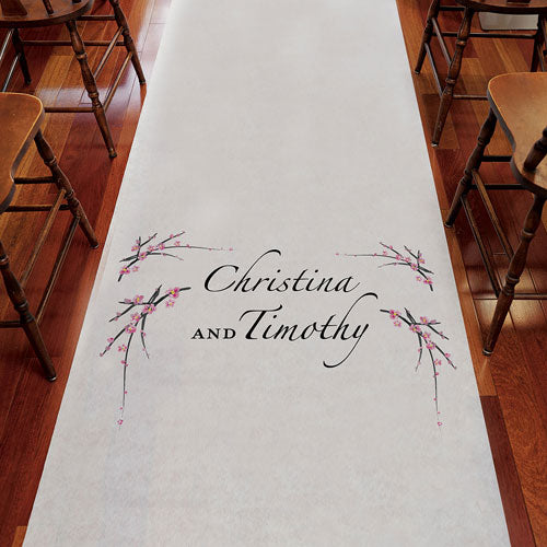 Cherry Blossom Personalized Aisle Runner Plain White Fuchsia (Pack of 1)