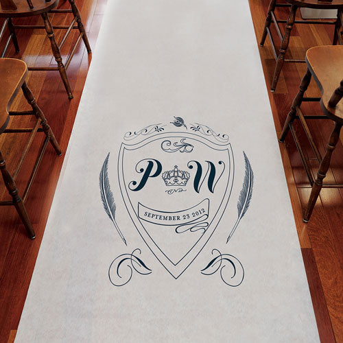 Regal Monogram Personalized Aisle Runner Plain White Berry (Pack of 1)