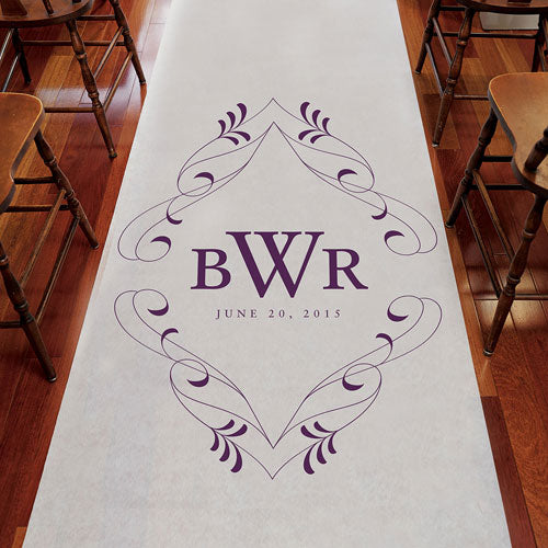 Flourish Monogram Personalized Aisle Runner Plain White Vintage Pink (Pack of 1)