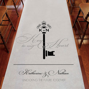 Key Monogram Personalized Aisle Runner Plain White Berry (Pack of 1)