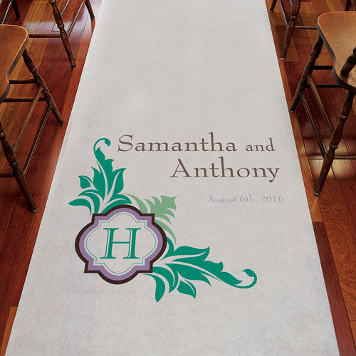 Lavish Monogram Personalized Aisle Runner White With Hearts Berry (Pack of 1)