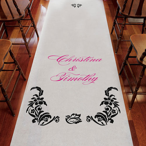Love Bird Damask Personalized Aisle Runner White With Hearts Berry (Pack of 1)
