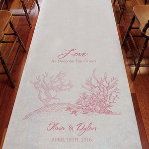 Reef Coral Personalized Aisle Runner White With Hearts Berry (Pack of 1)