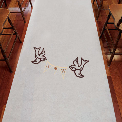 Birds with Love Pennant Personalized Aisle Runner White With Hearts (Pack of 1)