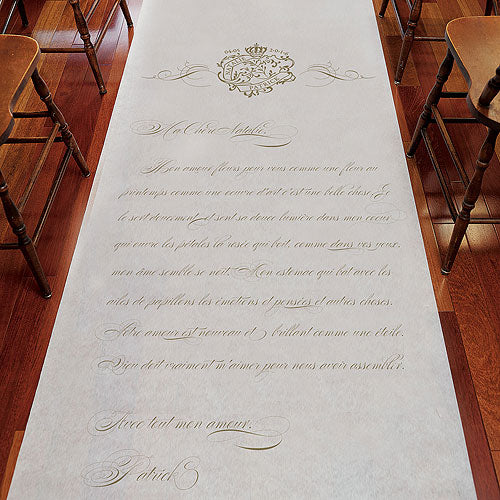 Parisian Love Letter Personalized Aisle Runner White With Hearts Vintage Gold (Pack of 1)